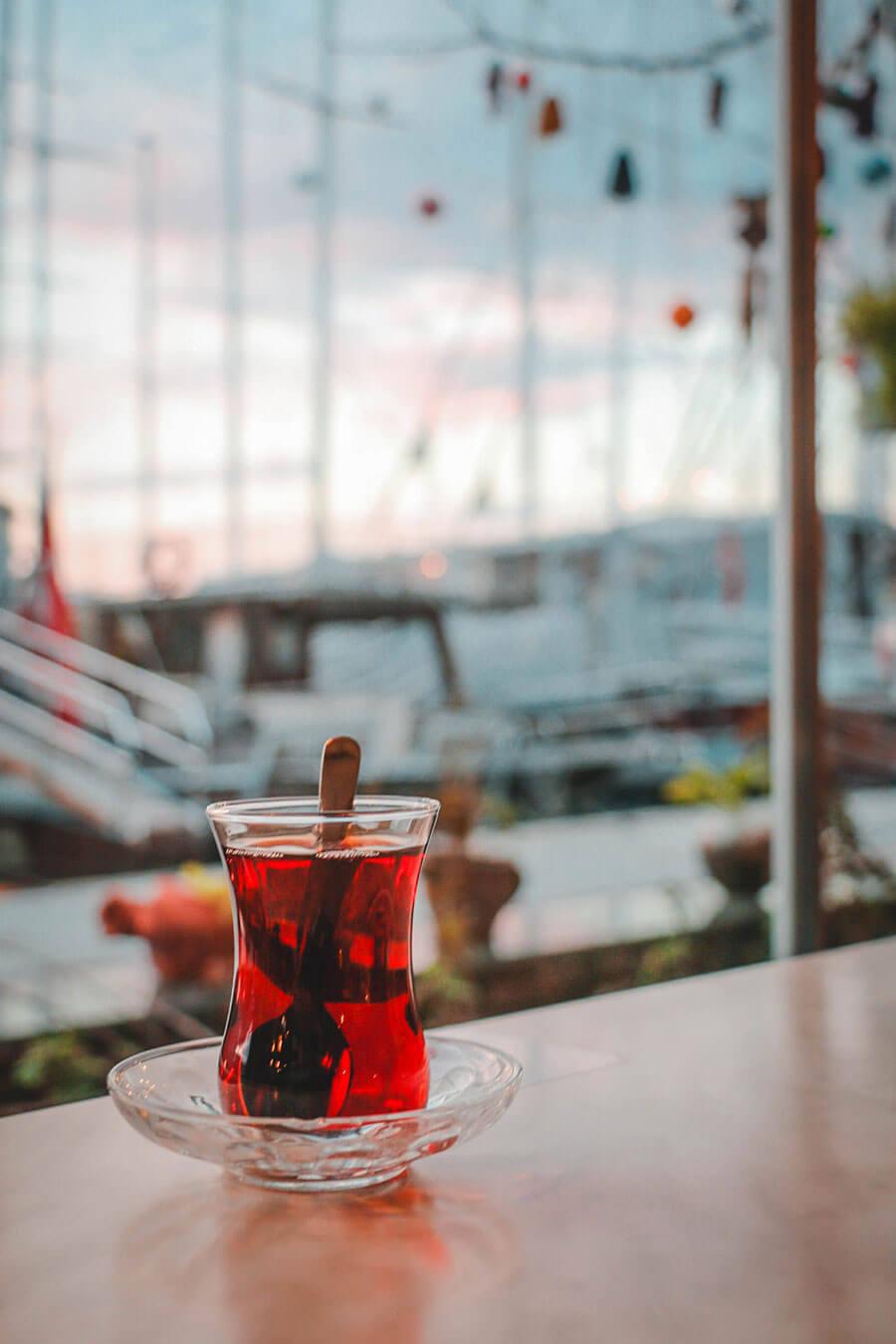 drinking tea ta Fethiye port